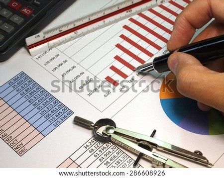 Analysis of sales graphs  - stock photo