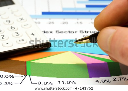 Analysis of stock market sector structure. - stock photo