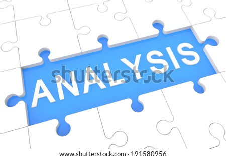 Analysis - puzzle 3d render illustration with word on blue background - stock photo