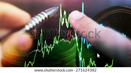 analysis stock graph and money concept - stock photo