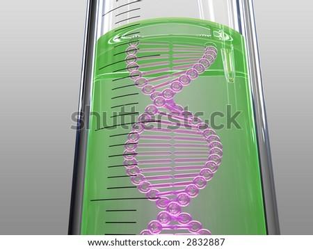 analysis test tube, DNA chain, green liquid - stock photo