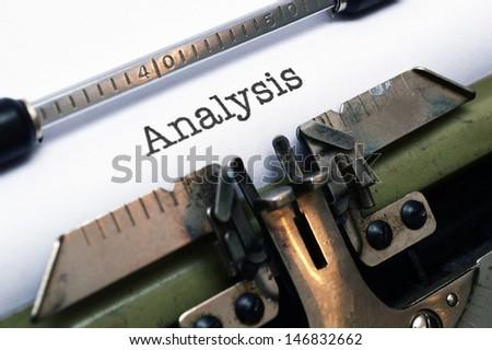 Analysis text on typewriter - stock photo
