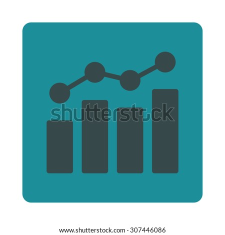 Analytics raster icon. This flat rounded square button uses soft blue colors and isolated on a white background. - stock photo