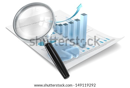 Analyze. Magnifying glass over Financial document with 3D Graph and pie chart of frosted glass. - stock photo