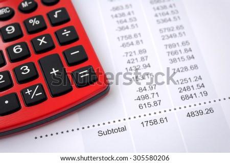 Analyzing and balancing account data.  - stock photo