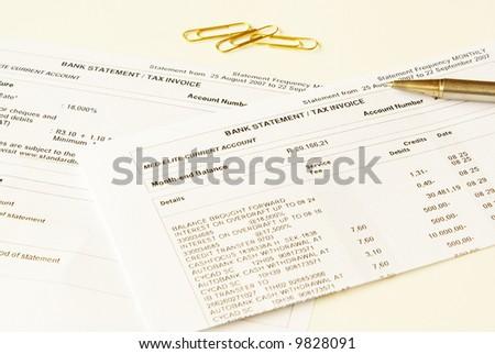 Analyzing bank statements - stock photo