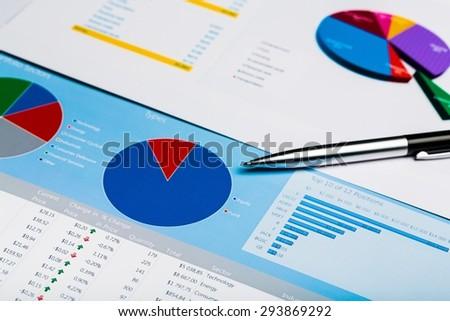 Analyzing, Graph, Scrutiny. - stock photo