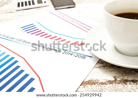 Analyzing graphics with evolution exchange rate euro dollar and doing calculations  - stock photo