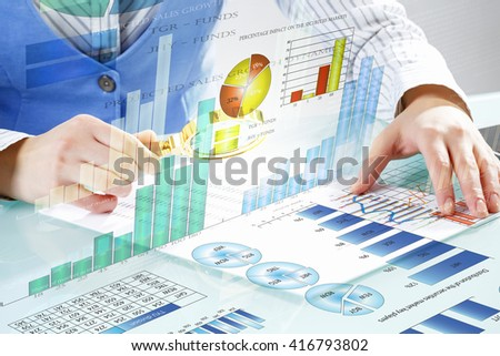 Analyzing sales data - stock photo