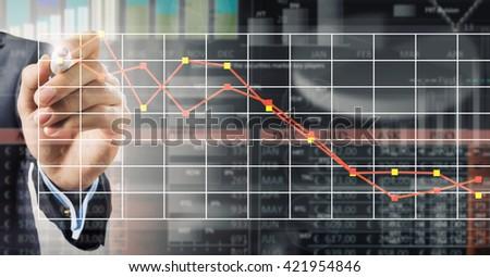 Analyzing sales data - stock photo