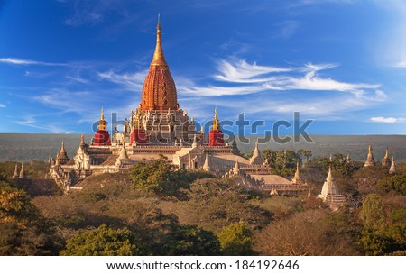 Ananda temple in Bagan, Myanmar.  Canon 5D Mk II. - stock photo