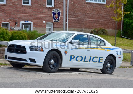 ANAPOLIS ROYAL NOVA SCOTIA MAY 27: Police car in Annapolis Royal is a small Canadian town located in the western part of Annapolis County, Nova Scotia, and was known as Port Royal. On may 27 2014 - stock photo