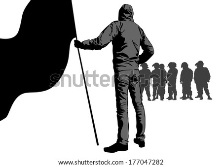 Anarchists with large flags and police - stock photo