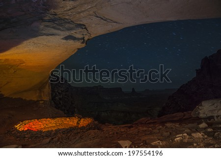 Anasazi Indian Ruins At False Kiva, Canyonlands - stock photo