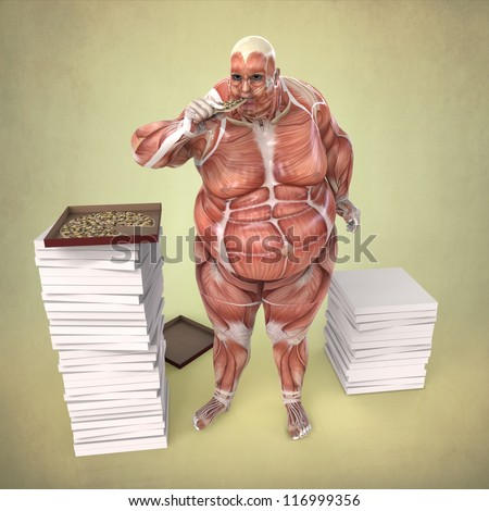 Anatomy of an Obese Body Eating Pizza