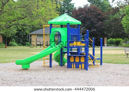 ANCASTER, CANADA - JUNE 28, 2016: Childrens' play equipment in a park in Ancaster, nr. Hamiliton, Ontario, Canada.