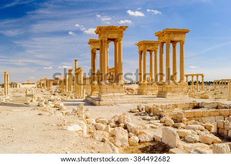 Anceint ruins of Palmyra, an ancient Semitic city, Syria