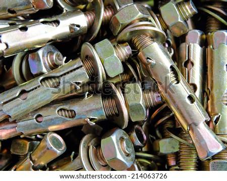 Anchor bolts closeup - stock photo