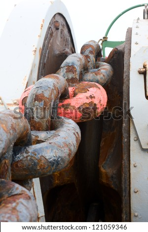 Anchor chain of container ship - stock photo