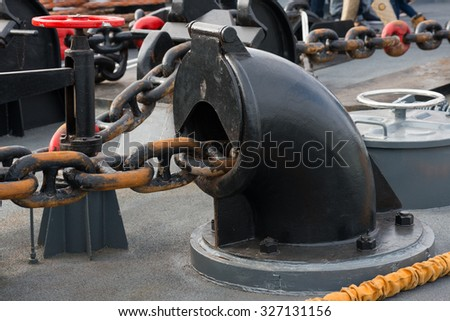anchor chain on the warship - stock photo