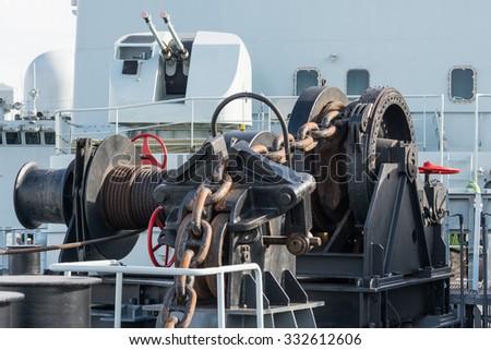 anchor chain on warship - stock photo