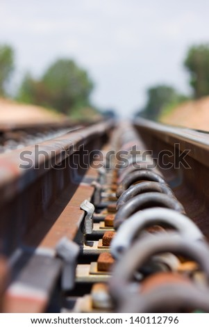 Anchor equipment rails. - stock photo