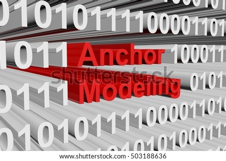 Anchor modeling in the form of binary code, 3D illustration