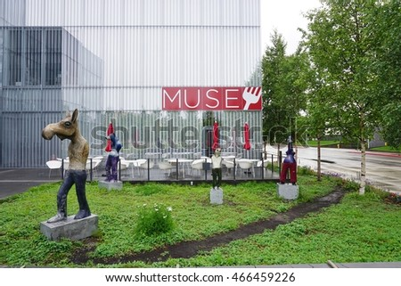 ANCHORAGE, ALASKA -22 MAY 2015- Opened in 1968, the Anchorage Museum, one of the top tourist attractions in Alaska, displays objects and art from Alaska and the big North.