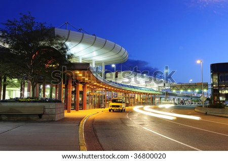 Anchorage International airport at dawn, Alaska - stock photo