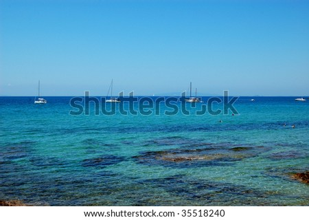 anchored boats on the Mediterranean sea (Italy)