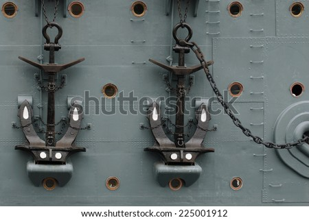 Anchors on Aurora - stock photo