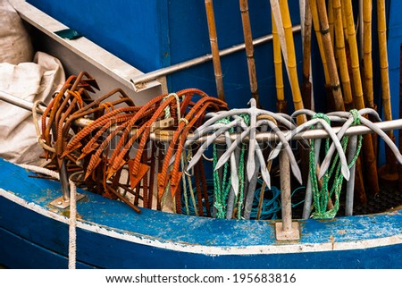 Anchors on the boat  - stock photo