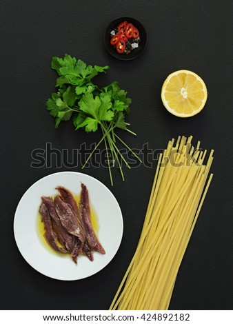 Anchovy and Lemon Pasta Ingredients. - stock photo