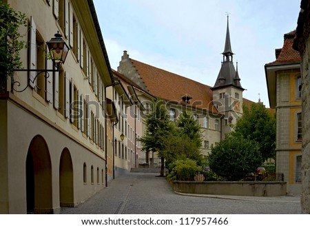 Ancienne Academie at old city center of Lausanne - stock photo