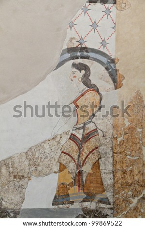 Ancient Akrotiri settlement at Santorini island in Greece. Detail of a house  wall fresco. - stock photo