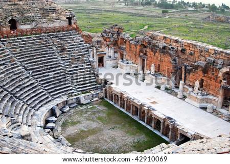 ancient amphitheater in Ephesus - stock photo