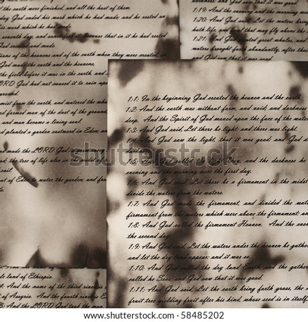 Ancient and vintage handwritten Bible pages - stock photo