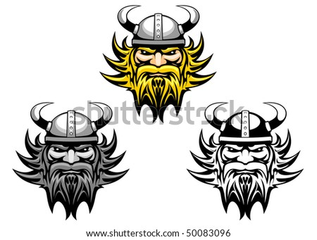Ancient angry viking warrior as a mascot or tattoo or logo template. Vector version is also available   - stock photo