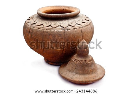 Ancient antique water bowl on a white background - stock photo