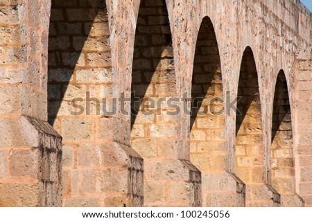 Ancient Aqueduct of Morelia, Michoacan (Mexico) - stock photo