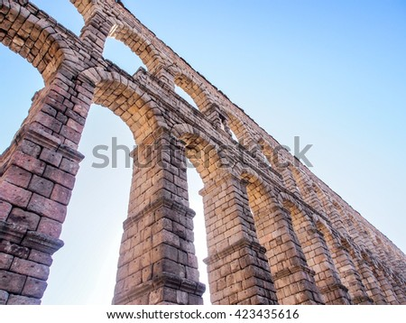 ancient aqueduct, the landmark of Segovia, Spain
