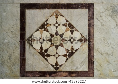 ancient Arabic Art inside the Omayyad Mosque in Damascus Syria - stock photo