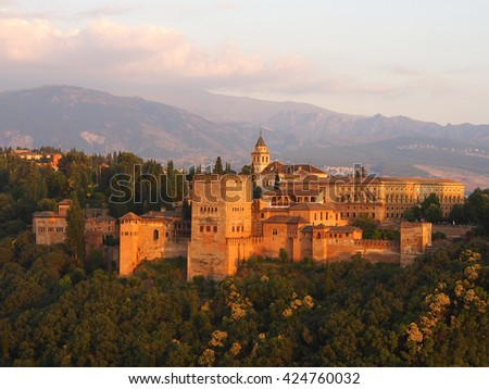Ancient arabic palace Alhambra at the beautiful evening time, Granada, Spain (UNESCO heritage) - stock photo