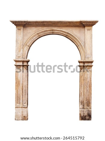 Ancient arch isolated on white background. - stock photo