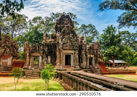 Ancient Architecture in Angkor , Siem reap,Cambodia, was inscribed on the UNESCO World Heritage List in 1992. - stock photo
