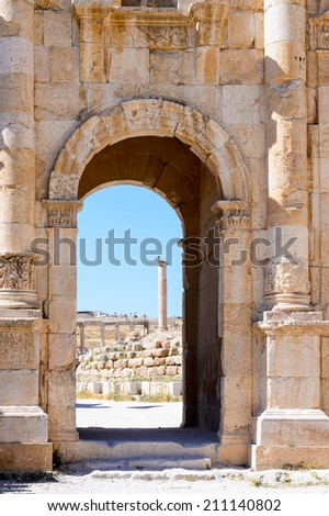 Ancient architecture of the Ancient Roman city of Gerasa of Antiquity , modern Jerash, Jordan - stock photo