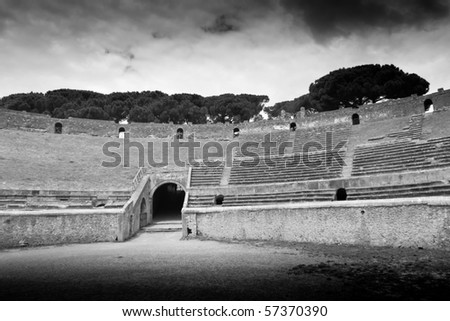 ancient arena in Pompeii, Italy, black and white - stock photo