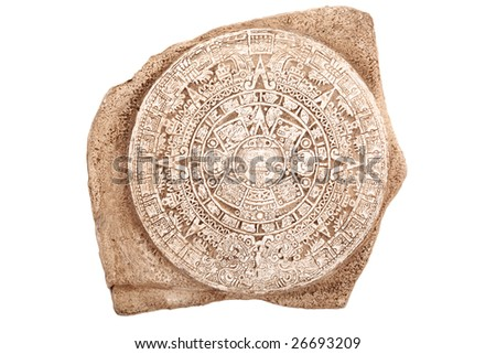 Ancient Aztec calendar isolated on white