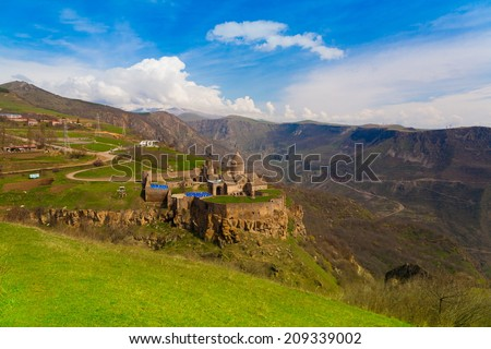 ancient beautiful monastery in the mountains of Armenia