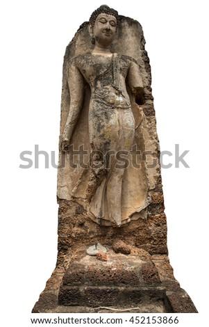 Ancient big buddha image and ruin city at Wat Phra Si Ratanamahathat, Sukhothai historical park ,UNESCO world heritage site, Sukhothai, Thailand, on white background - stock photo
